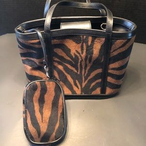 Lord and Taylor Animal Print Bag and Coin Purse